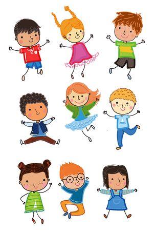 Cute happy cartoon sketch kids