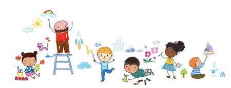 Group of happy children drawing 矢量图像