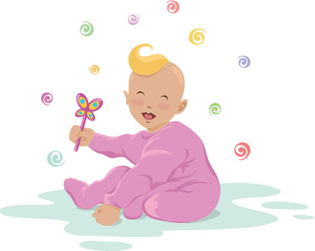 beanbag: Illustration of cute laughing baby holding a toy Illustration