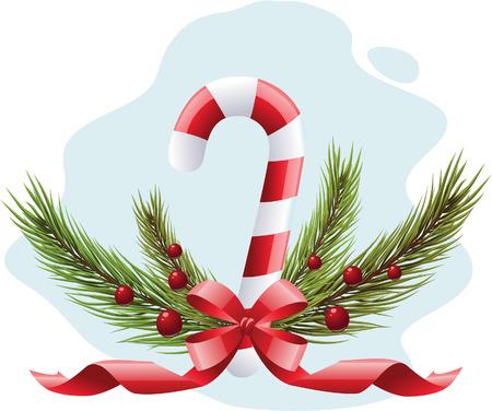 caramelos navidad: Ca�a de dulces de Navidad, cinta, bayas de �rbol y acebo xmas