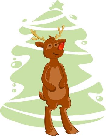 Cartoon christmas deer on Xmas tree background Vector