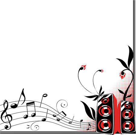 Decorative frame with loudspeakers, flowers and music staff Vector