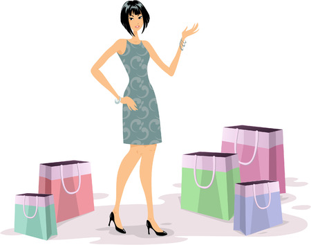 Fashionable young woman shopping illustration Stock Vector - 8399298