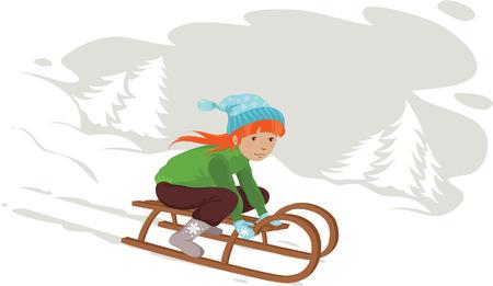 Redheaded girl sledding in the snow Vector