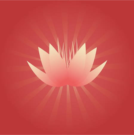 Pink lotus flower on red background with radial beams Vector