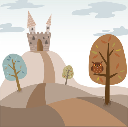 Landscape with medieval cartoon castle, trees, road and owl Vector