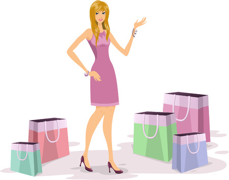 Fashionable young blonde  woman shopping illustration Vector