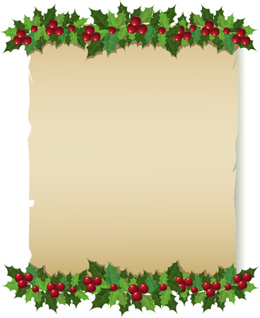Christmas holly paper greeting card. Vector illustration
