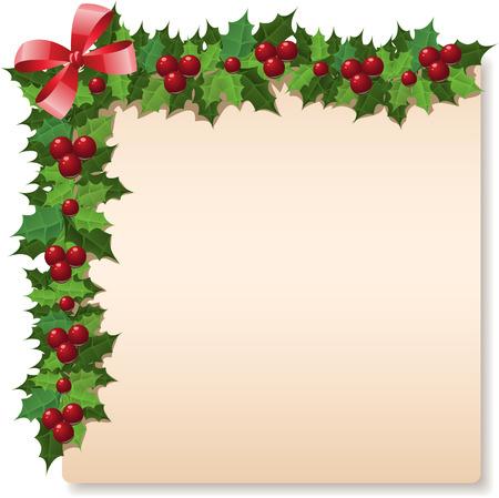 Christmas holly greeting card. Vector illustration Stock Vector - 8448110