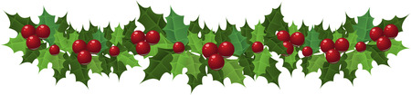 holly leaf: Christmas holly garland. Vector illustration