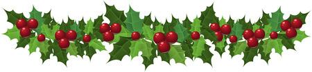 frutos rojos: Guirnalda de acebo de Navidad. Ilustraci�n vectorial