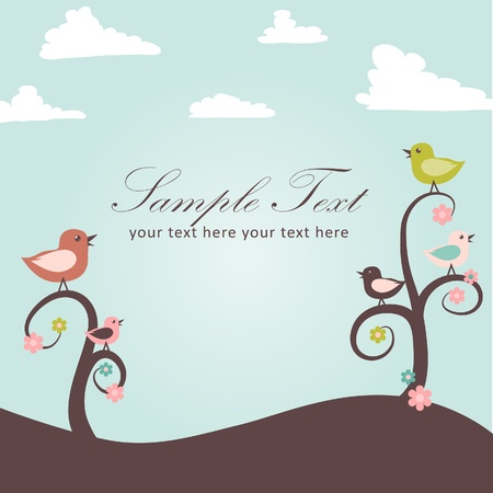 Birds and flowers card  Stock Vector - 9153931