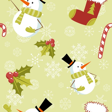 Seamless pattern with cute cartoon Christmas snowman, candy cane, holly berries and red stocking with xmas tree Stock Vector - 11591509