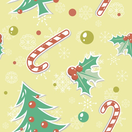 Seamless pattern with cute cartoon Christmas tree with balls, candy cane, holly berries Vector