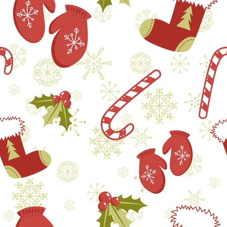 Seamless pattern with cute cartoon Christmas mittens, candy cane, holly berries and red stocking with xmas tree Ilustrace