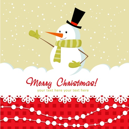 Ornate Christmas card with doodle snowman and decorative lace Vector