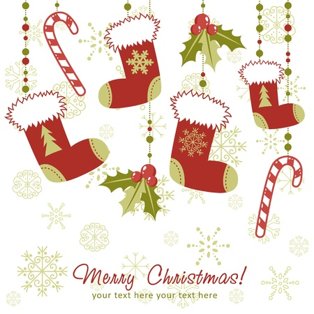 stockings: Ornate Christmas card with xmas stocking, toys holly berries, candy canes and decorative lace