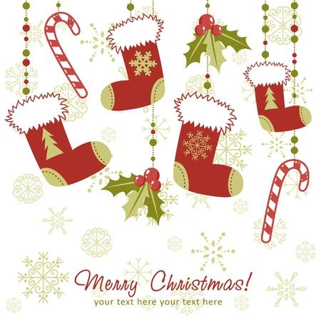 Sierlijke Kerstkaart met kerstmis kous, speelgoed hulst bessen, zuurstokken en decoratieve kant Vector Illustratie