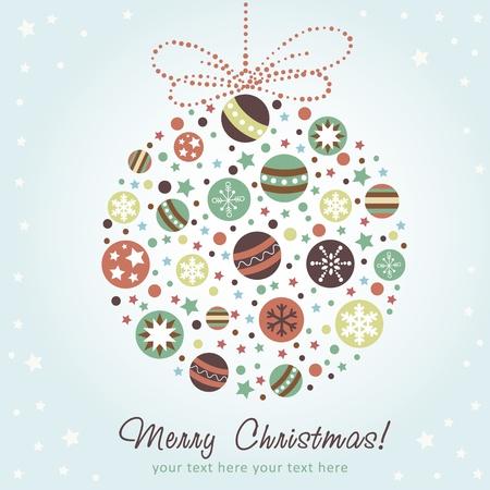 stylized design: Stilizzata decorazione di Natale con i giocattoli natale, palle, stelle e fiocchi di neve Vettoriali