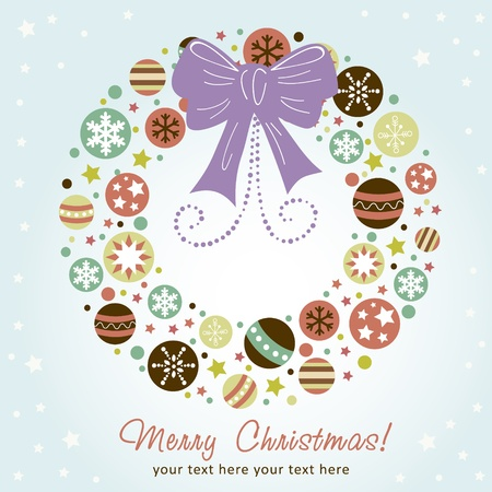 Creative design Christmas wreath with xmas toys, balls, stars and ribbon Vector
