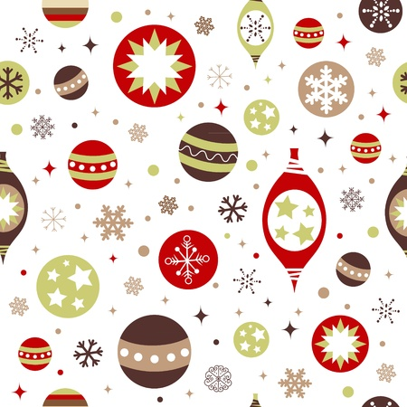 Beautiful design Christmas seamless pattern with xmas toys, balls, snowflakes and stars Illustration