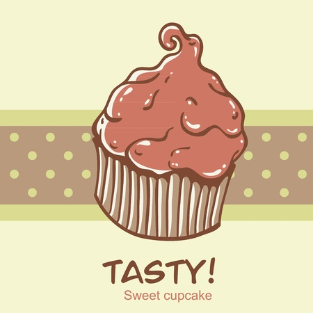 Creative vintage cupcake card with a polka dot stripe on the backdrop Vector