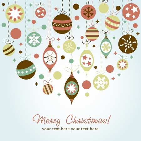 Beautiful design Christmas greeting card with xmas toys, balls and stars Vector
