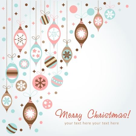 Beautiful design Christmas greeting card with xmas toys, balls and stars