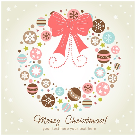 snow wreath: Creative design Christmas wreath with xmas toys, balls, stars and ribbon