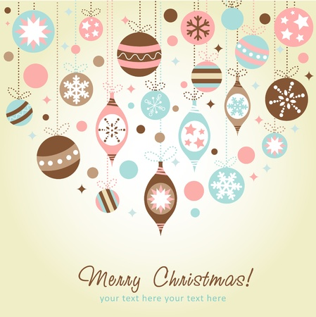 Beautiful design Christmas greeting card with xmas toys, balls and stars Stock Vector - 11591502