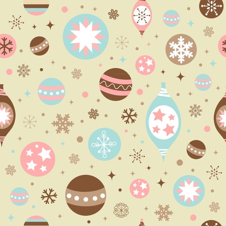 Beautiful design Christmas seamless pattern with xmas toys, balls, snowflakes and stars Vector
