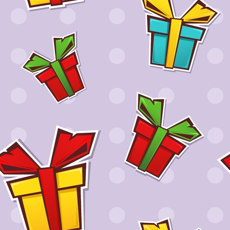 Seamless repeating pattern with colorful gift boxes and ribbons on a dotted background Stock Vector - 11591485