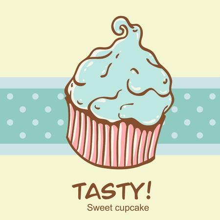 Creative vintage cupcake card with a polka dot stripe on the backdrop Vector