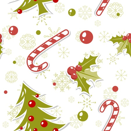 Seamless pattern with cute cartoon Christmas tree with balls, candy cane, holly berries Stock Vector - 11591505