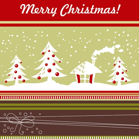 Cartoon Christmas card with xmas tree, balls, house and decorative lace Stock Vector - 11591488