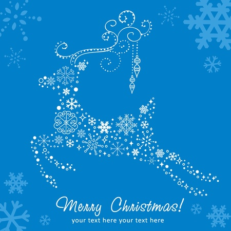 Ornate decorative Christmas deer card made of snowflakes on red winter background Vector