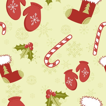Seamless pattern with cute cartoon Christmas mittens, candy cane, holly berries and red stocking with xmas tree photo