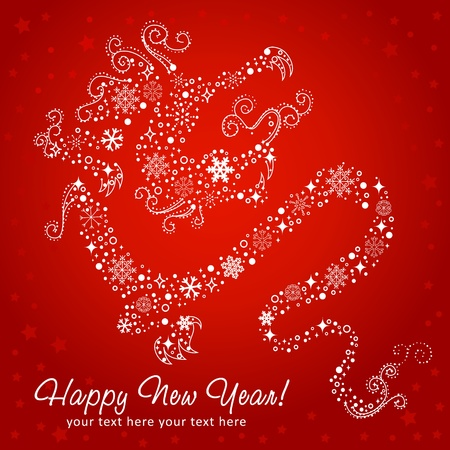 chinese new year dragon: Ornate chinese New Year of stylized Dragon card made of snowflakes Illustration