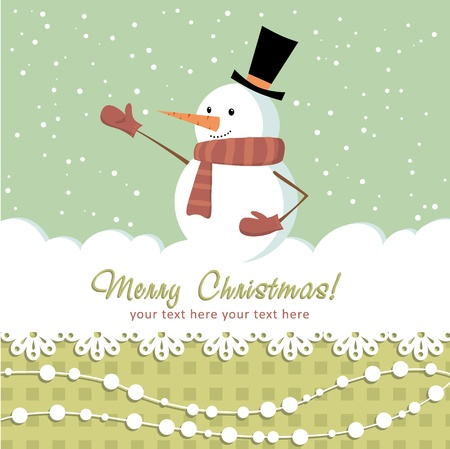 Ornate Christmas card with doodle snowman and decorative lace Stock Vector - 11591515