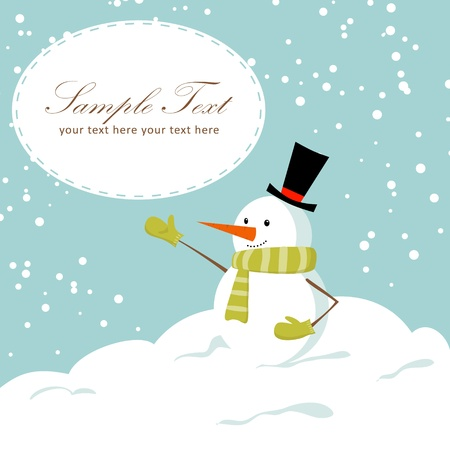 Cute cartoon snowman smiling on snow winter Christmas background card