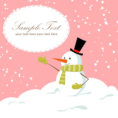 Cute cartoon snowman smiling on snow winter Christmas background card Vector