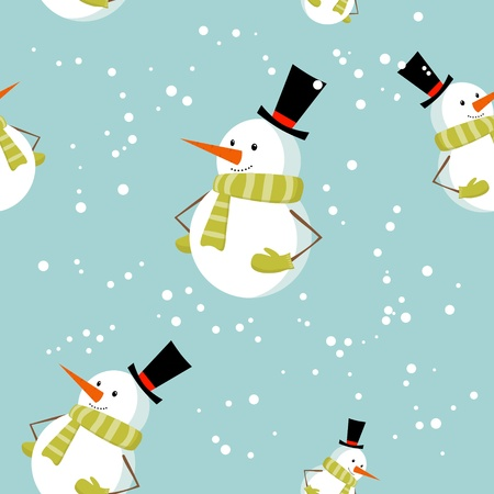 Seamless pattern with cute cartoon Christmas snowman on snow winter background Vector