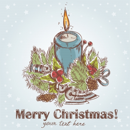 hand drawn candle blue color Vector