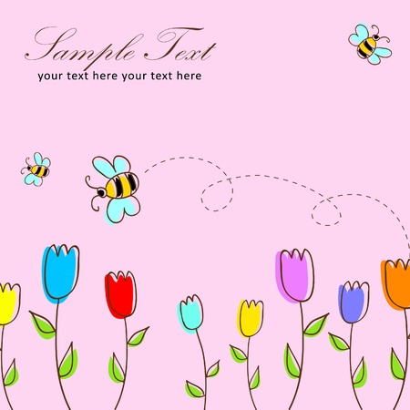 Cute floral postcard with tulips and bees