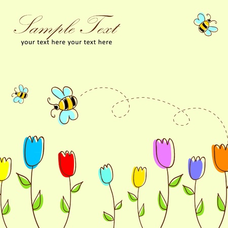 Cute floral postcard with tulips and bees Vector