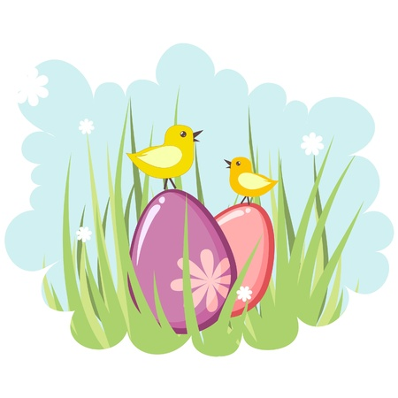 easter message: Cute decorative easter tag with eggs and chicken