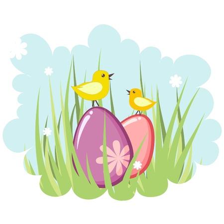Linda decoración de Pascua etiqueta con huevos y pollo Vectores