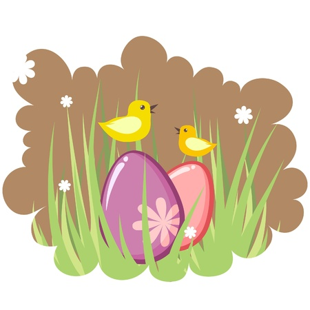 Cute decorative easter tag with eggs and chicken Vector