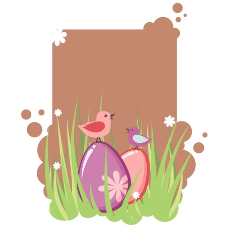 Cute decorative easter tag with eggs and birds Vector