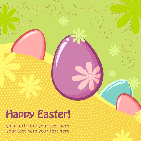 Easter greeting decorative postcard with different easter eggs Vector